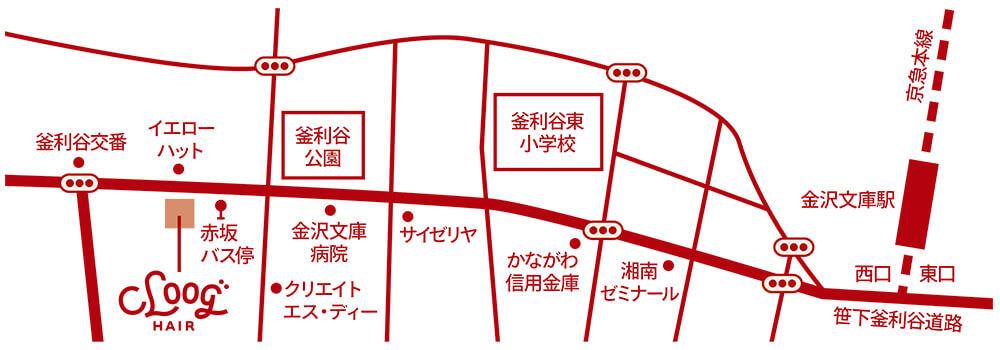 金沢文庫の美容院(美容室)クロッグヘアー 地図画像